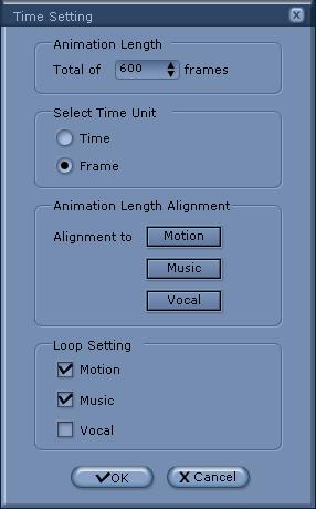 iClone timesetting Time Setting Panel