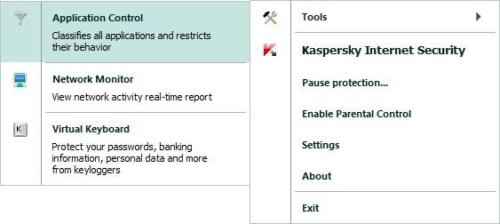 Internet Security menu kis Context menu