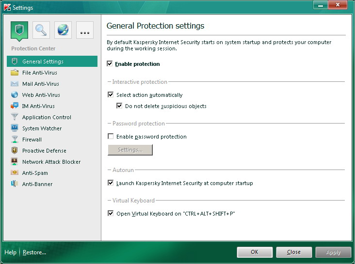 Internet Security settings window kis Application settings window