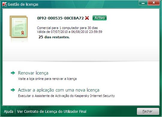 Internet Security license manager kis Ver informação sobre a licença.