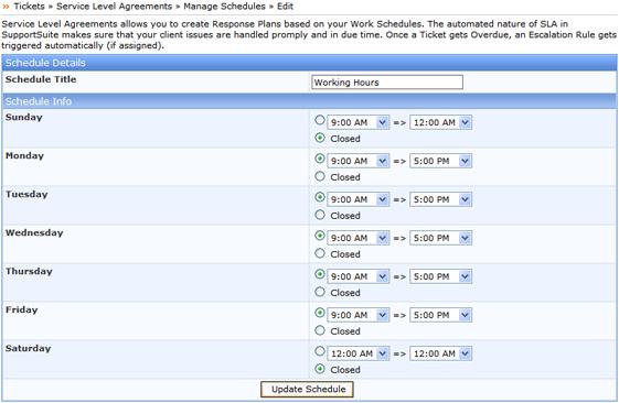 Kayako ss sla005 Manage Schedules
