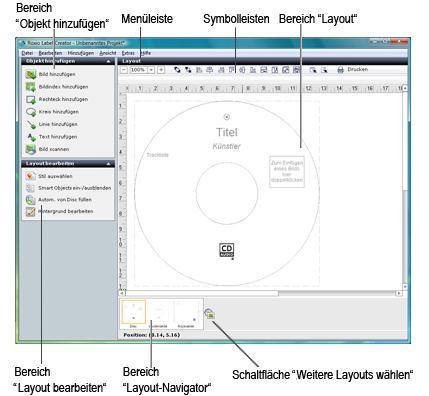 Label Creator lc welcome.1.3.1 Überblick über das Label Creator Fenster