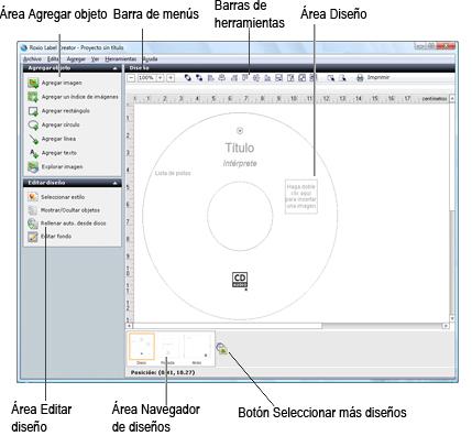 Label Creator lc welcome.1.3.1 Familiarización con la ventana de Label Creator