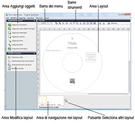 Label Creator lc welcome.1.3.1 Descrizione della finestra di Label Creator
