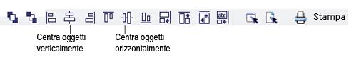 Label Creator lc workingwithobjects.3.8.2 Allineamento e centratura di oggetti