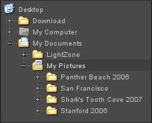 LightZone folders en Navigating folders