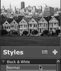 LightZone styles preview en Applying