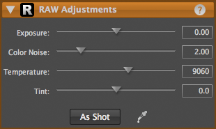 LightZone tool raw adjustments en Raw Adjustments