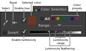 LightZone tool tab color selection en Color/Luminosity selection