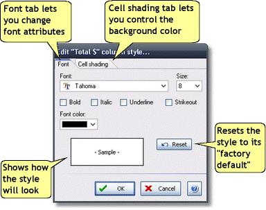 ManagePLUS for QuickBooks dlgeditreportstyle3 Edit Report Style dialog
