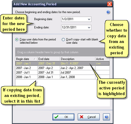 ManagePLUS for QuickBooks dlgnewacctgperiod2 Add New Accounting Period dialog