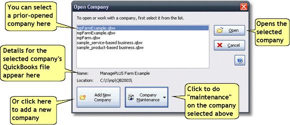 ManagePLUS for QuickBooks dlgopencompany3 Open Company dialog