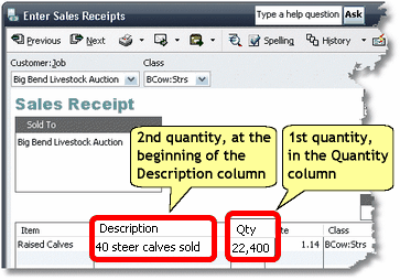 ManagePLUS for QuickBooks htqb2qtysalesrcpt2 Entering two quantities in transactions
