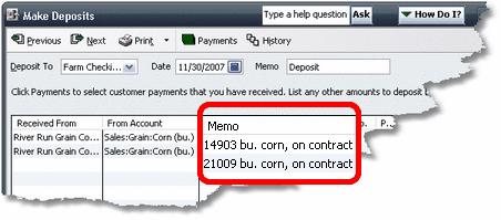 ManagePLUS for QuickBooks htqbqtyindeposit2 Entering quantities in the Memo/Description field