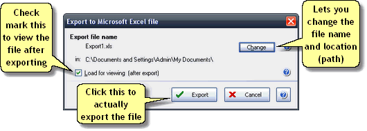 ManagePLUS for QuickBooks htrepexportexportdlg Exporting reports to Microsoft Excel