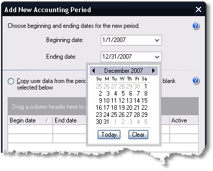 ManagePLUS for QuickBooks qsaddnewacctperiod 2. Choosing an accounting period