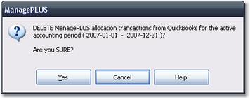 ManagePLUS for QuickBooks qsallocdeletetransconfirm 19. Sending allocation transactions to QuickBooks