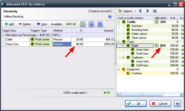ManagePLUS for QuickBooks qsallocdlgwithcropsline2 15. Allocating from an account to classes