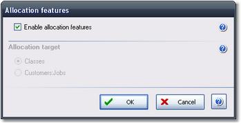 ManagePLUS for QuickBooks qsallocfeatures2 Allocation Features dialog