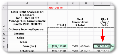 ManagePLUS for QuickBooks qsallocprofanalcornqtycell2 18. Getting a Profit Anaysis report