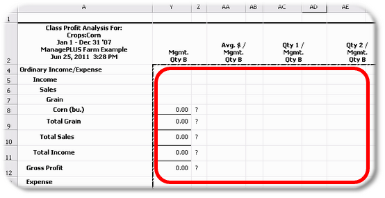 ManagePLUS for QuickBooks qsallocprofanalmgmtqtybempty2 18. Getting a Profit Anaysis report
