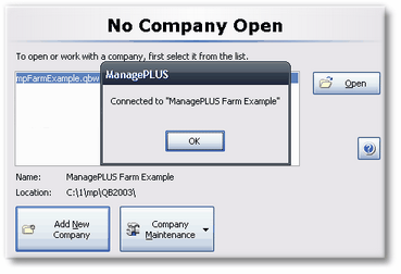 ManagePLUS for QuickBooks qsconnected 1. Adding/opening a new company file
