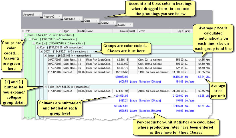 ManagePLUS for QuickBooks qsgridtransgrouped2small 8. Using grid features (Transactions example)