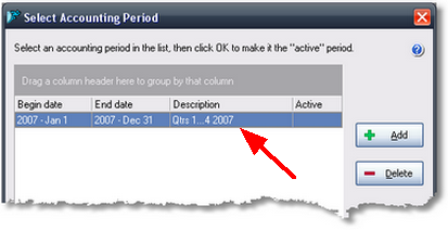 ManagePLUS for QuickBooks qsnewacctperiodinlist 2. Choosing an accounting period