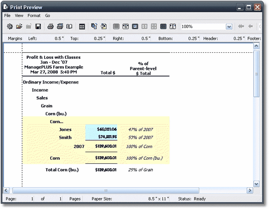 ManagePLUS for QuickBooks qsrepprnpreview2 7. Creating and printing a report