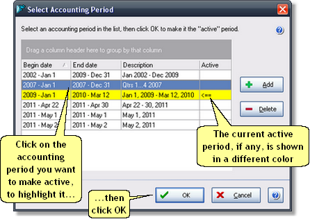 ManagePLUS for QuickBooks qsselectacctgperiodlist3 2. Choosing an accounting period