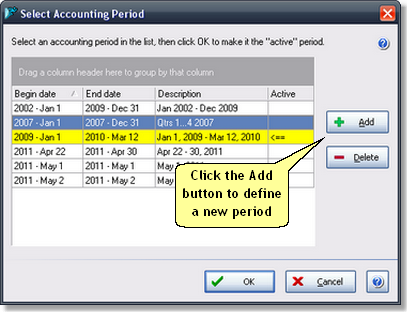 ManagePLUS for QuickBooks qsselectacctgperiodlist4 20. Reusing your allocation formulas