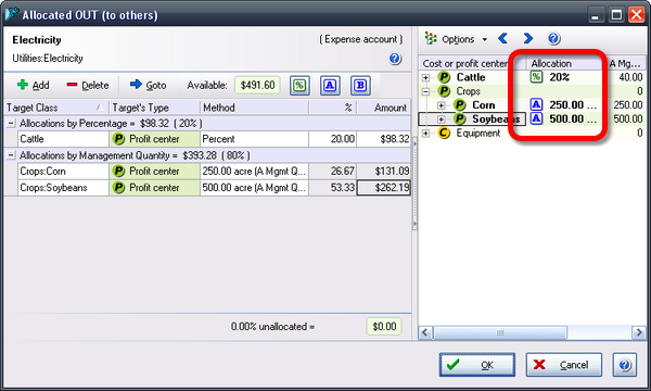 ManagePLUS for QuickBooks ref dlg allocoutmixed2 Creating allocation formulas