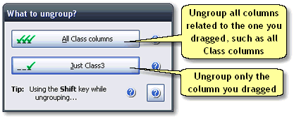 ManagePLUS for QuickBooks ref dlg whattoungroup2 What to Ungroup? dialog