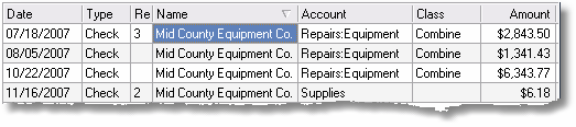 ManagePLUS for QuickBooks uigridsfiltertrans1 8. Using grid features (Transactions example)