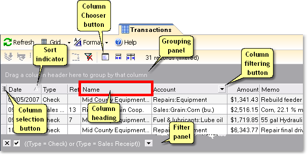 ManagePLUS for QuickBooks uigridstrans3c Grid features overview