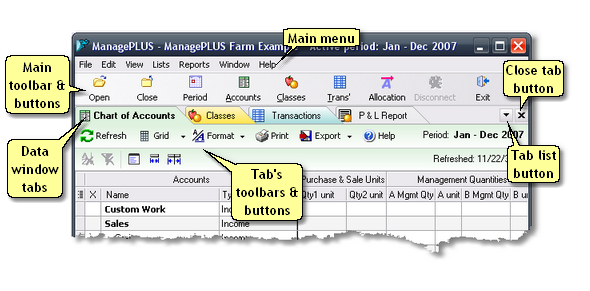 ManagePLUS for QuickBooks uiworkarea2 The main window