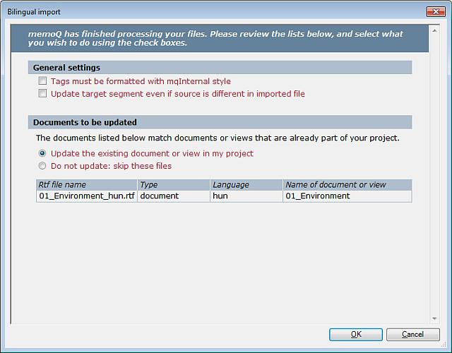 MemoQ 2colrtf importsettings Bilingual import (dialog; two column RTF documents)