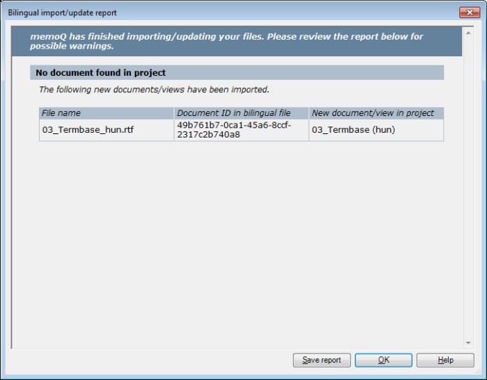 MemoQ 2colrtf newdoc report Bilingual import/update report (dialog)