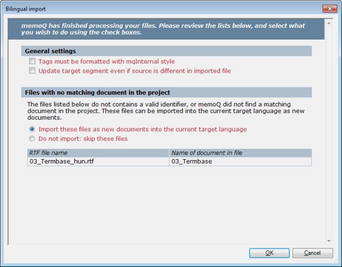 MemoQ 2colrtf newdoc settings Bilingual import (dialog; two column RTF documents)