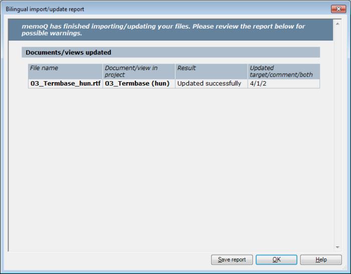 MemoQ 2colrtf updatereport Bilingual import/update report (dialog)