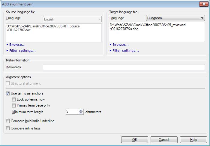 MemoQ add alignment pair Add alignment pair (dialog)