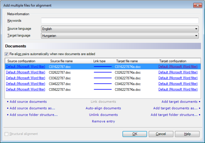 MemoQ add multiple files for alignment dialog Add multiple files for alignment (dialog)