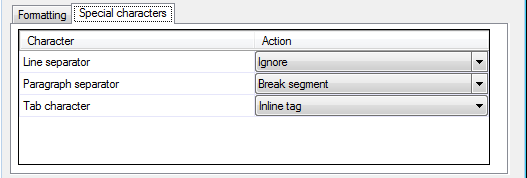 MemoQ adobe idml filter config dialog characters tab Adobe InDesign IDML documents (*.idml)
