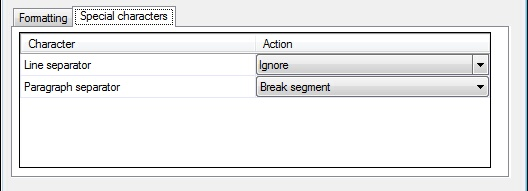 MemoQ adobe inx filter config dialog characters tab Adobe InDesign documents (INX)