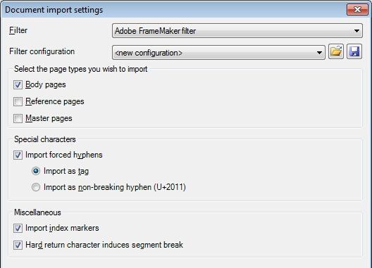 MemoQ adobe mif filter config dialog Adobe FrameMaker documents (MIF)