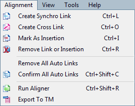 MemoQ alignment menu Alignment menu