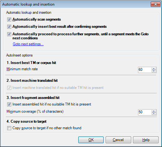 MemoQ automatic lookup and insertion Automatic lookup and insertion (dialog)