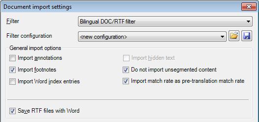 MemoQ bilingual doc rtf settings Bilingual DOC/RTF files