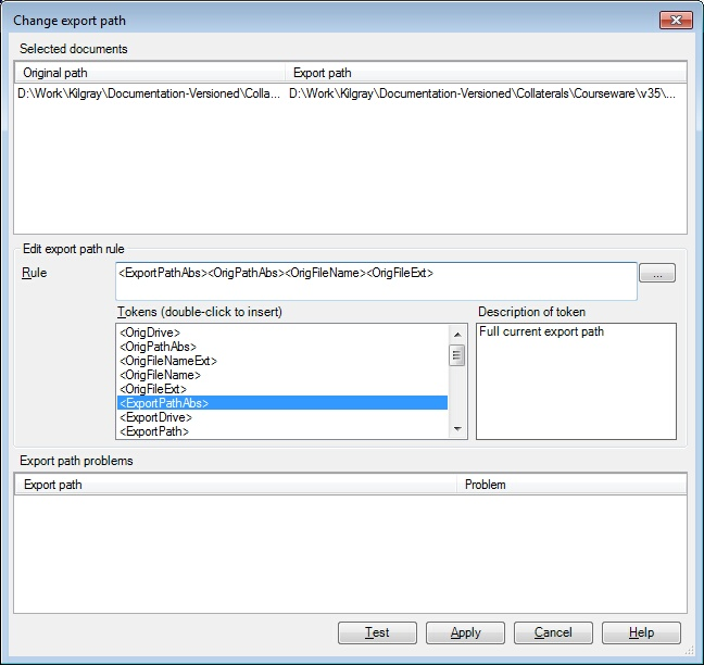 MemoQ change export path Change export path (dialog)