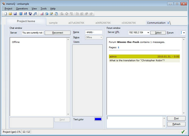 MemoQ communication tab.zoom70 Communication tab